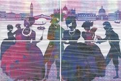 HGD\A197\4x\8275 Панно Карнавал в Венеции, панно из 4 частей 20х30 (размер каждой части) - фото 48956