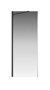 Боковая перегородка Creto Tenta 123-SP-800-C-B-8 стекло прозрачное EASY CLEAN, профиль черный, 80х200 см