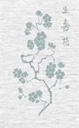 Декор Сакура серый 25x40