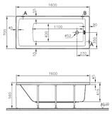 Акриловая ванна VitrA Neon 160x70 см 52520001000 - фото 58588
